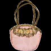 Tiny Vintage Pink Silk Purse with Metallic Lace, Tiny Ribbon Flowers and Metallic Ribbon Handl