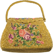 SALE Golden Beaded Micro Petit Point Floral Evening Bag Purse