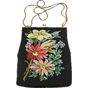 Festive Holiday Black Floral Micro Petit Point Purse