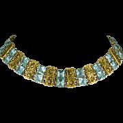 Art Deco Czech Choker Necklace Pale Aqua Rhinestones