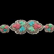 SALE 1935 KTF Trifari Fruit Salad Pin and Earrings