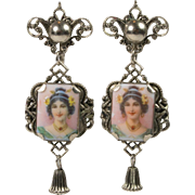 Miniature Portrait Vintage Screw-Back Earrings