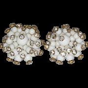 Vintage Rhinestone Pin Set White Glass Bead Clip Earrings