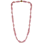 SALE Miriam Haskell Pink Glass Necklace