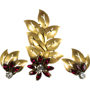 SALE JOSEFF Hollywood Carved Leaf and Rhinestone Flower Brooch and Earrings