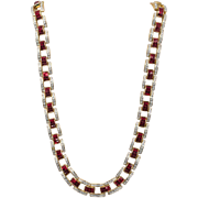 Spectacular Invisibly Set Ruby Red and Pave Rhinestone Necklace