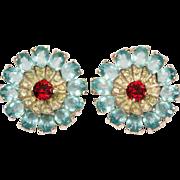 Mazer Aquamarine and Ruby Rhinestone Swirl Flower Clip Earrings