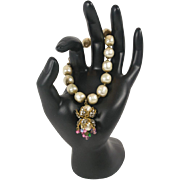 SALE Miriam Haskell Faux Pearl Dangle Bracelet Decorated with Rhinestones