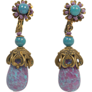 SALE Miriam Haskell Turquoise and Purple Glass Bead Earrings