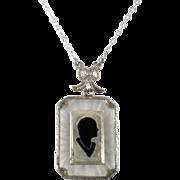 Art Deco Sterling Silver Camphor Glass Enamel Silhouette Pendant Necklace
