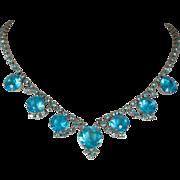 Aqua Rhinestone Choker Necklace