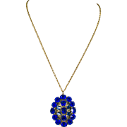 Czech Deep Cobalt Blue Rhinestone Pendant Necklace with Gold Metal Leaves