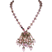 Venetian Beads and Crystal Pink Lariat Necklace