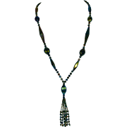 1920's Flapper Art Deco Glass Bead Necklace with Tassel