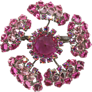 Stunning Signed Schreiner New York Pink Brooch Pin