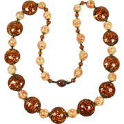 SALE Amber Venetian Glass Necklace