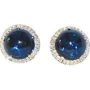 SALE Crown Trifari Jelly Belly Deep Blue Dome Shaped Clip Earrings with Baguette Rhinestones