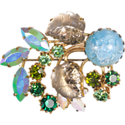 SALE Austrian Crystal Blue and Green Brooch Pin