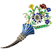 Vintage Floral Bouquet Enamel and Marcasite Sterling Brooch Pin
