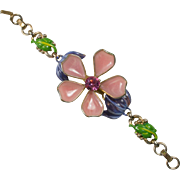 SALE Poured Glass Petal Flower and Enamel Bracelet
