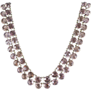 SALE Art Deco Lavender Pink Rhinestone Double Strand Necklace