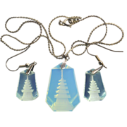 SALE Opalescent Glass Pagoda Necklace and Pierced Earrings