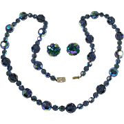 SALE Vogue Jewelry's Midnight Blue Aurora Borealis Glass Necklace and Earrings