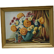 Vintage Oil Painting Floral Bouquet Asian Male Statue Yellow Blue White Flowers Framed
