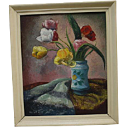 Vintage Oil Painting Floral Bouquet Tulips Red Yellow White Vase Table Top Still Life Colorful