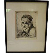 Signed & Numbered Joseph Margulies Etching Researcher of the Spirit Male Rabbi