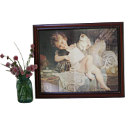 Vintage of Victorian Baby Girl Kitten Puppy Print Wood Frame Lace Bedding Parlor Room Smile