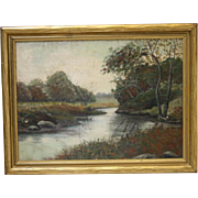 Landscape Oil Painting Meandering Stream Trees Meadows Gold Wood Frame Vintage American