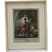 French Print Le Chiffre D'Amour Framed Female Carving Love Letters in Tree w Dog ...