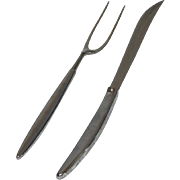 Carvel Hall Stainless Steel Carving Knife & Fork Set Mid Century Modern USA Made