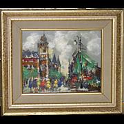 Oil Painting Paris France Impressionist City Street Bright Vivid Shades Gold Frame Vintage Mid
