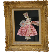 Vintage Framed Ribbon Baby Doll Paper Cut Out Doll Satin Dress Yarn Hat Lace Trim ...