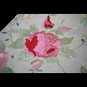 Victorian Piano Scarf Pink Yellow Roses Chintz Flowers Cream Silk 4 Sides Fringe Shawl 48 ...