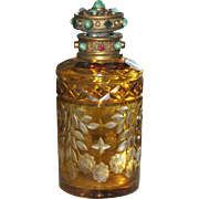 SALE Best Antique Very Fine Austrian Cabochon Jeweled Cut to Clear Perfume Bottle