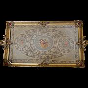 SALE Vintage 1920's  APOLLO STUDIOS Jeweled Vanity Perfume Tray w/ lace insert Gold Ormolu