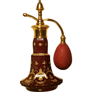 SOLD c.1890 BOHEMIAN RUBY RED CUT GLASS GILT HAND PAINTED PERFUME BOTTLE ATOMIZER