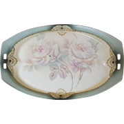 SALE Antique RS Prussia Dresser Tray White & Pink Roses w/ blue-gray border Vanity Trinket ...
