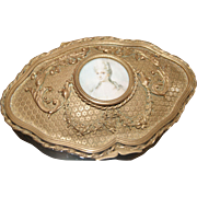 SOLD Antique Lrg. French Gilt Casket Trinket Box w/ Miniature Portrait Ornate Ormolu