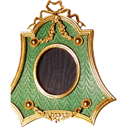 English Miniature Portrait Frame Teal Green & French style Gold swags