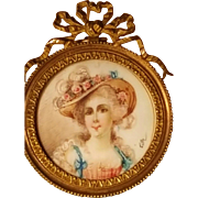 SOLD Antique French Small Miniature Signed Portrait w/ Brass Ornate Frame Bow on Top