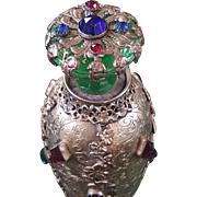 Antique Jeweled Czech Perfume Bottle w/ green glass Jeweled Top Gold Ormolu