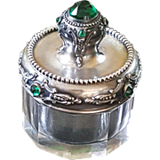 Distinguished Antique Sterling Silver Green Jeweled Top w/ panel glass bottom Small Trinket bo