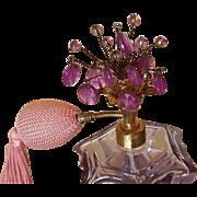 Vintage Irice DeVilbiss Purple Jeweled Perfume Bottle  art Glass Atomizer