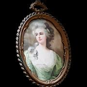 Antique Golden Bronze Picture Frame w/ Convex & Portrait French Lady