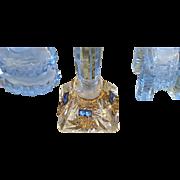 Vintage Petite 1920's Czech Filigree BLUE Jeweled Perfume Bottle ~ Signed Czechoslovakia