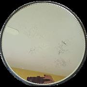 "Antique Big 12"" wide Round Silver Vanity Tray w/ Heavy Beveled Mirror w/ Crackles!"